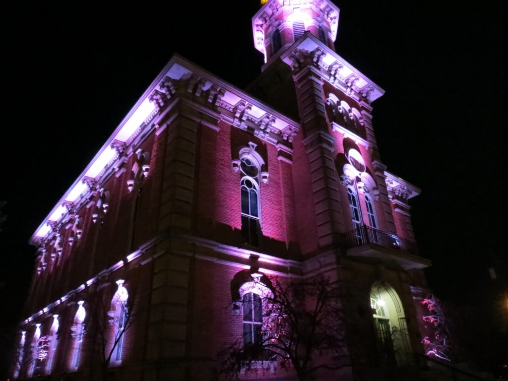 Geauga County Courthouse at night with lighted exterior