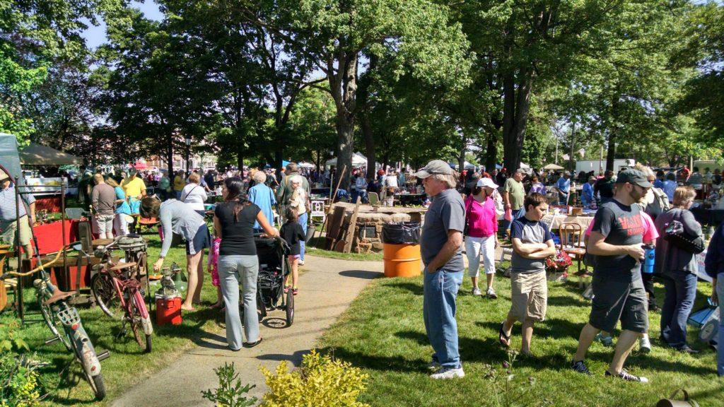 Flea market crowd (wide shot)