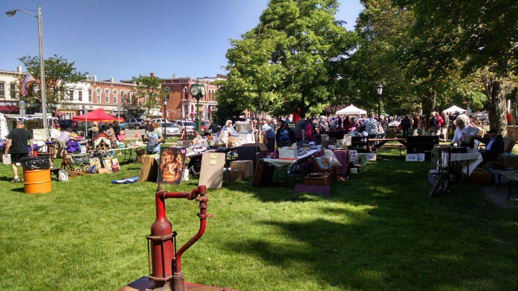 Flea market booths (wide shot)