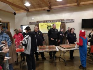 Chardon Police Department handing out donuts in the Heritage House