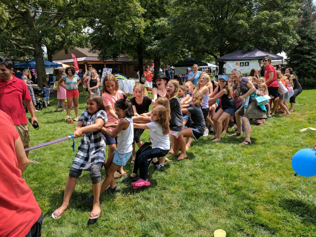 Girls playing tug-o-war