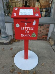 Red mailbox for letters to Santa